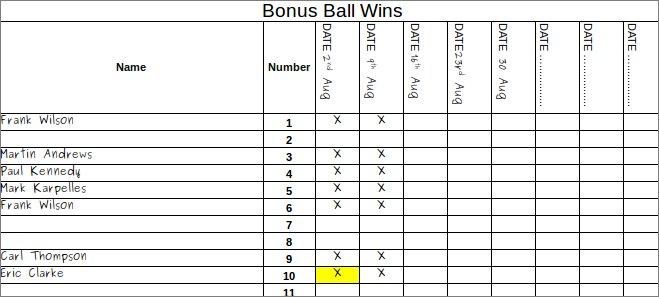Free Bonus Ball Template | Keep Track of Winners | PDF